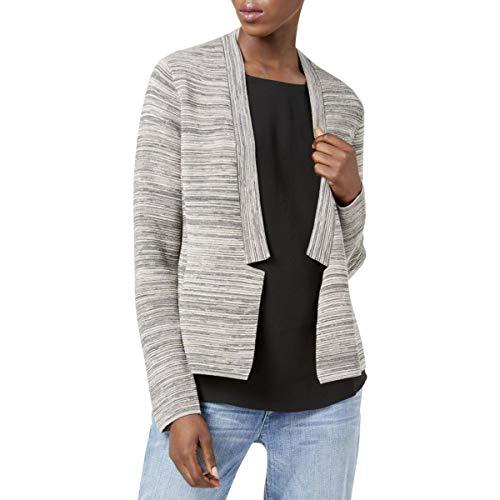 Eileen Fisher Womens Tencel Blend Notch Collar Cardigan Sweater Gray S