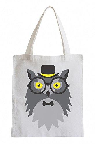 Raxxpurl Hipster Owl Fun sacchetto di iuta