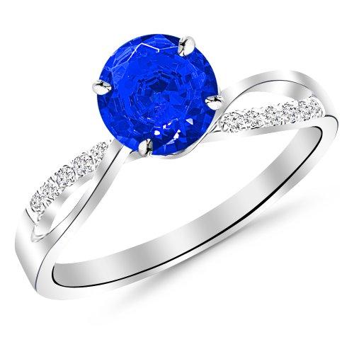 0.58 Carat Elegant 14K White Gold Twisting Split Shank Diamond Engagement Ring w/.5 Carat blue sapphire