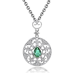 White Gold Natural Emerald Diamond Pendant