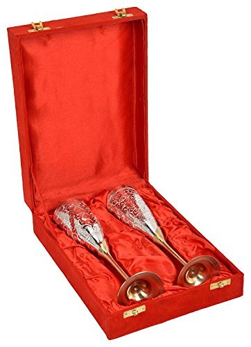 Royal Flute - Tiger54 Royal Silver and Gold Plated Brass Hand Engraved Wine And Champagne Flute/Glass With a Presentation Box (9.5