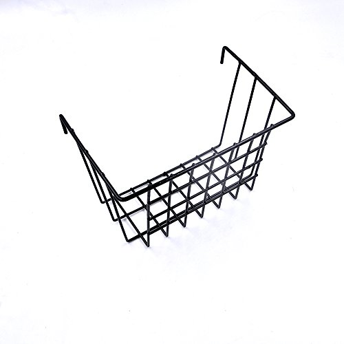 Black Wire Hanging Basket Grid Panel Wall Mountable Flower Pot Ornaments Display Shelf Rack for Bathroom, Kitchen, Living room, Balcony, Bedroom, Store Size 7.48'' x 4.52'' x 5.9''/19cm x 11.5 x 15cm by ANZOME