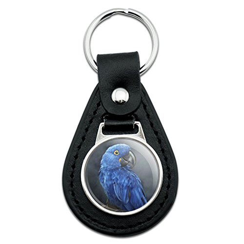 Hyacinth Macaw Parrot Black Leather Keychain