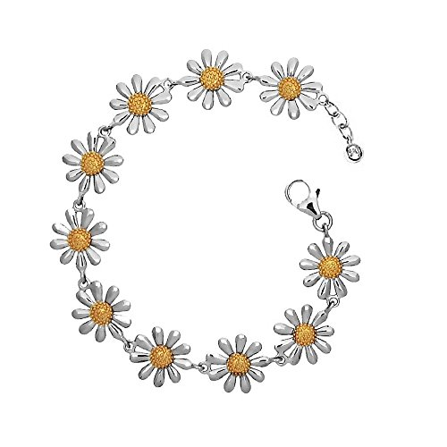 Paul Wright 925 Sterling Silver Daisy Bracelet, 10 Daisies with 18K Gold Plated Centres, 7