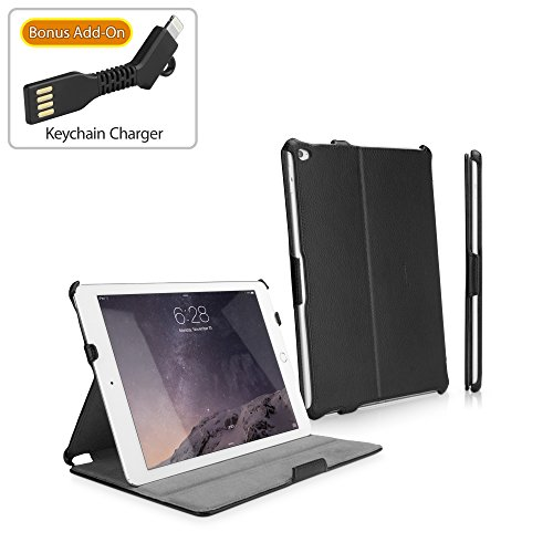 iPad Air 2 Case, BoxWave® [Leather Book Jacket with BONUS Keychain Charger] Protective Synthetic Leather Folding Folio Cover for Apple iPad Air 2 - Nero Black