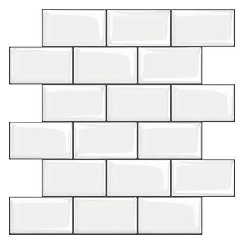 STICKGOO White Subway Tiles Peel and Stick Backsplash, Stick on Tiles Kitchen Backsplash (Pack of 10, Thicker Design)