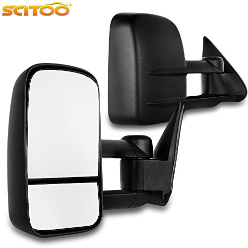 Scitoo Towing Mirrors for Chevy GMC Exterior Accessories Mirrors for 1999-2007 Chevy/GMC Silverado/Sierra 1500 2500HD 3500HD with Convex Glass Manual Controlling and Telescoping Features