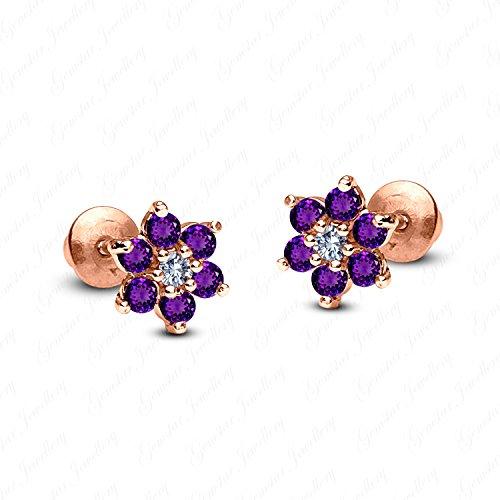 Gemstar Jewellery Purple Amethyst 14k Rose Gold Fn Engagement Wedding Cluster Flower Stud ()