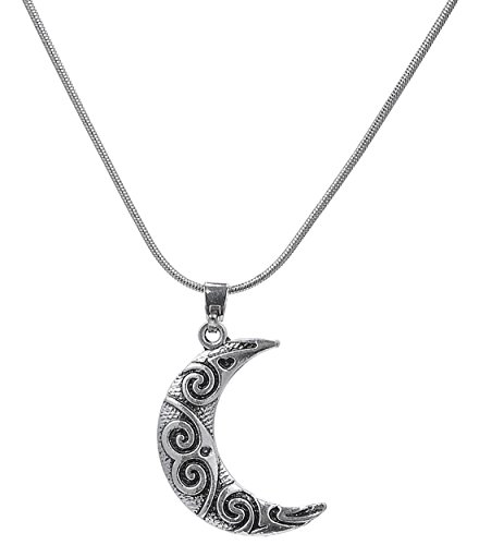 Antique Silver Crescent Moon Charm Pendant Spiral Celtic Chain Necklace ()