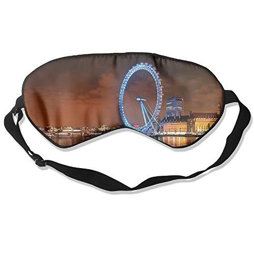 Goods Shops Mulberry Silk Sleeping Masks London Ferris Wheel Night Landscape Eyepatch Eye Masks Adjustable Sleeping Eye Shade -