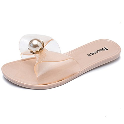 Sandales Sandales Slip Anti Summer JRenok on Confort Femmes Toe Dérapant Forme Slide Open Plat Rose Plate Beach q4xwXAnFwf