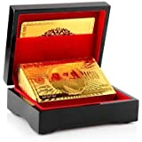 Bu W Luxury 24 K Gold Foil Plated Playing Cards Poker With Wooden Box Pack,Creative Funny Home Party Games Playing Entertainment Toys