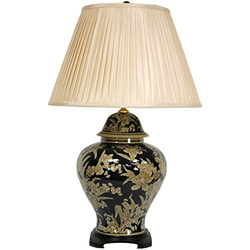"Oriental Furniture 28"" Black and Tan Floral Bouquet Vase Lamp"