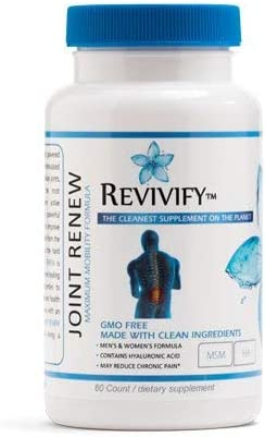Revivify Non-GMO Joint Renew with Glucosamine MSM - Natural Nutrients and Contains White Willow Bark 60ct