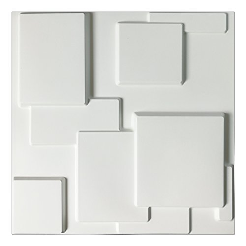 Art3d Decorative Tiles 3D Wall Panels for Modern Wall Decor, White, 12 Panels 32 Sq Ft (Tile Modern Wall)