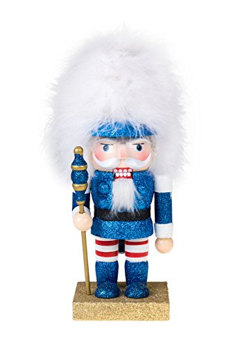 Soldier Nutcracker by Clever Creations | Blue Glitter Nutcracker with Tall White Hair | Perfect for Shelves and Tables | Collectable Festive Christmas Decor | 100% Real Wood | 10