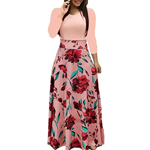Aublary Womens Long Sleeve Maxi Dress Round Neck Floral Print Casual Tunic Long Maxi Dress, Pink S - Floral Print Beach Bag