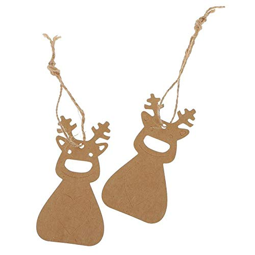 Tag Tag - Pack Of 100pcs Christmas Hanging Tag With 10m Hemp Rope Kraft Paper Decor Present Gift Labels Deer - Presente Tags Brown Dogs Pendant Drop Ornaments Card Paper Christmas Kraft Roll Ti