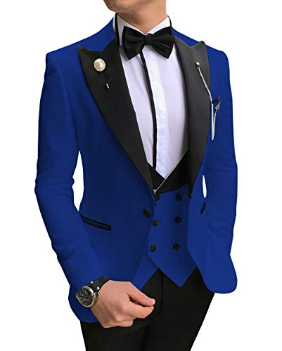 Aesido Casual Men's Suits Slim Fit 3 Piece Notch Lapel Prom Tuxedos Groomsmen for Wedding (Blazer+Vest+Pants)(Royal Blue,36US)