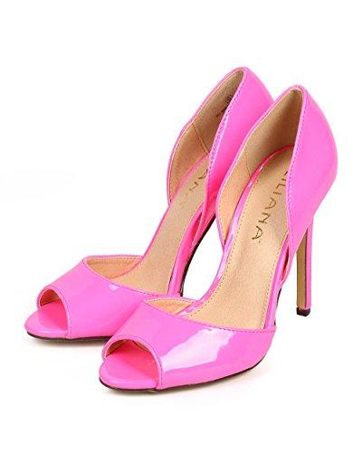 Liliana Df67 Vrouwen Patent Peep Toe Dorsay Single Sole Stiletto Pump Hot Pink