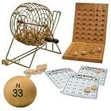 Deluxe 7 Inch Diameter Silver Metal Frame Cage Wooden Bingo Game Set