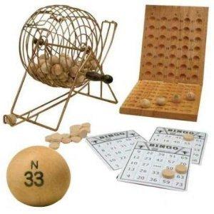 Game Deluxe Bingo Cage (Deluxe 7 Inch Diameter Silver Metal Frame Cage Wooden Bingo Game Set)