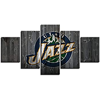 MIAUEN Utah Jazz Wall Art Posters Pictures Home Decor Canvas Prints 5 Panel NBA Basketball Sports Decoration Paintings Ready to Hang(60''Wx32''H)