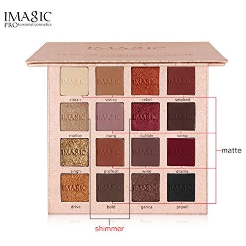 Dream_Mimi 16 Color Flash Eye Shadow Powder Matte Eye Shadow Cosmetics Waterproof not Makeup Pearlescent + Matte Eye Shadow Eye Shadow (Gold)