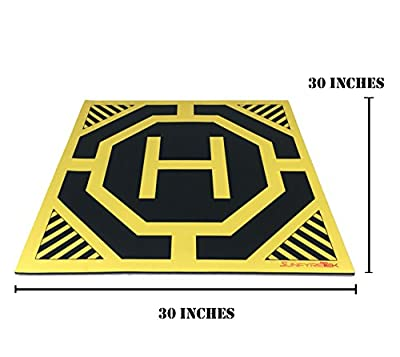 XXL Super Large Drone, Helicopter, Quadcopter Landing Pad - 30 by 30 in - Highly Visible, Protect Your Investment From Debris Sand, Soft Eco-Friendly Rubber, Waterproof Cloth-Neon Yellow-Made in China from Sunfyre Tek