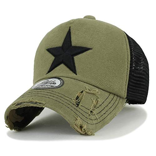 (ililily Star Embroidery tri-Tone Trucker Hat Adjustable Cotton Baseball Cap (Medium, Olive))