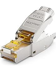 deleyCON 1x CAT 6a RJ45 Netwerkstekker Gereedschapsloos Afgeschermd 10Gbit/s Netwerkstekker voor Raw Cable Starre Installatiekabel Connector RJ45 Ethernet LAN DSL Patchkabel