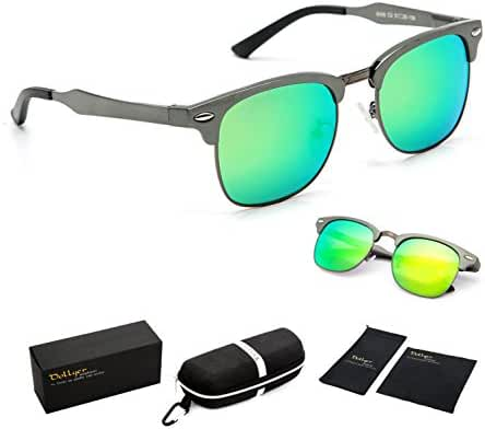 Dollger Classic Polarized Clubmaster Sunglasses Horn Rimmed Half Frame