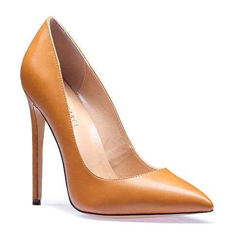 (SUNETEDANCE Women's Slip-on Pumps High Heels Pointy Toe Sexy Elegant Stiletto Heels 12CM Heel Shoes Pu Brown Pump 11.5 M US)