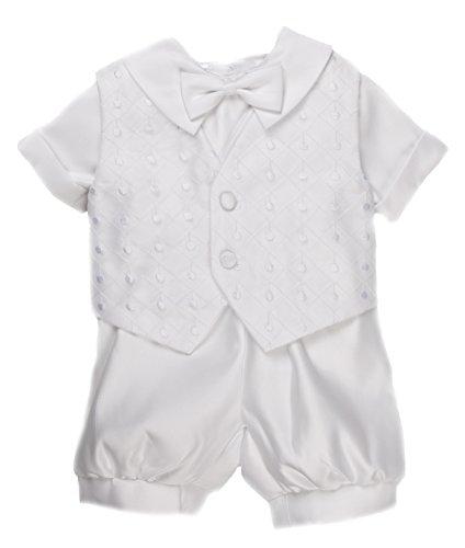 Caldore Boys Christening Dot Embroidery Short Set Size XL (24M) White