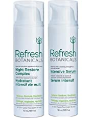 Refresh Botanicals Extra Care Twinpack Kit- Night Restore Complex (Age Defying AntiWrinkle Night Cream) and Intensive Serum, Natural and Organic Back to School Deal
