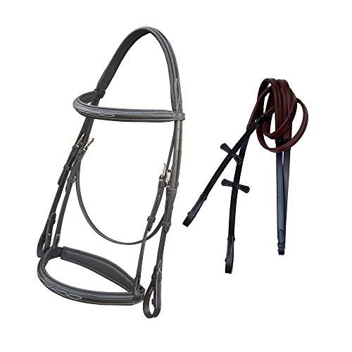Exion Comfort Lined Crown Piece Designer Fancy Stitched Square Raised Browband and Both Side Adjustable Buckle Noseband Jumping Bridle with Rubber Reins   Royal Hunter Bridle  Horse English Bridle