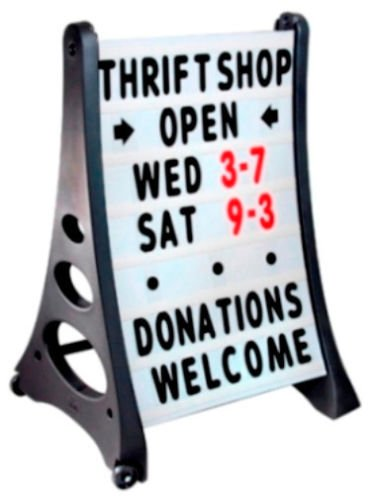 Quick Load A- Frame Standard White Curb Sidewalk Message Board Sign with Letters - A-frame Message Board