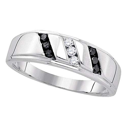 Sterling Silver Mens Round Black Color Enhanced Diamond Wedding Band Ring 1/4 Cttw ()