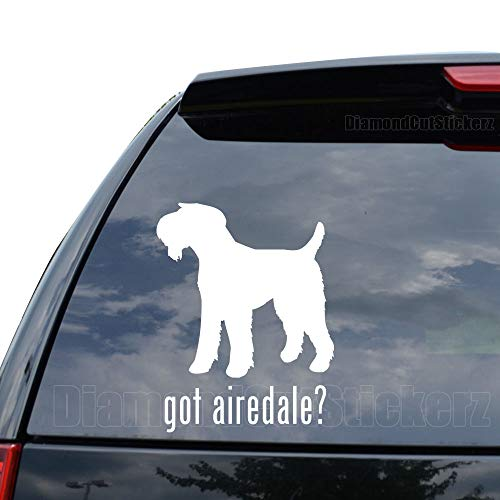 - GOT Airedale Terrier Dog PET Decal Sticker Car Truck Motorcycle Window Ipad Laptop Wall Decor - Size (14 inch / 36 cm Tall) - Color (Gloss White)