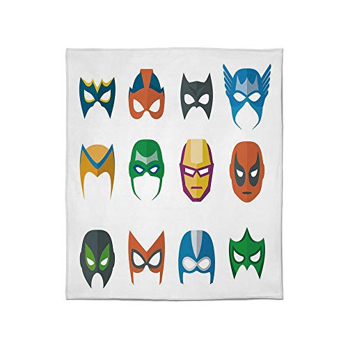 C COABALLA Warm Flannel Blanket,Superhero,for Folding Bed Crib, Stroller, Travel, Couch and Bed,Size Throw/Twin/Queen/King,Hero Mask Female Male Costume Power Justice]()