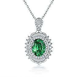 Green Emerald Diamond Pendant In White Gold
