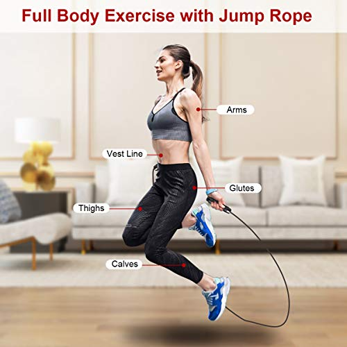 Frebw Jump Rope for Fitness Crossfit 2 Pack Speed Skipping Rope for Exercise Training Workout Adjustable Weighted Jumping Rope for Men Women Kids Boy