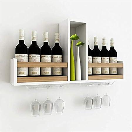 Estantería de vino Rack de vino de montaje en pared blanco  Titular de la botella Unidad de almacenamiento de vidrio de champagne  Estanterías flotantes Accesorios de barras Estanterías  Madera recicl