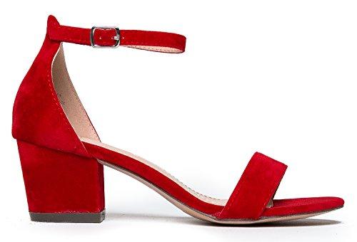 J. Adams Cinturino Alla Caviglia Con Cinturino Alla Caviglia - Adorabile Tacco Basso A Blocchi - Margherita Di Colore Rosso