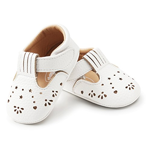 HONGTEYA Baby Girl Shoes Cute Toddler Hard Sole First Walkers Mary Jane Crib Moccasins Sandals (11cm(0-6months), White)