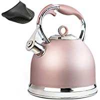 HIHUOS Whistling Tea Kettle, Stainless Steel Teapot for Stove Top, Rose-gold, 2.6-Quart