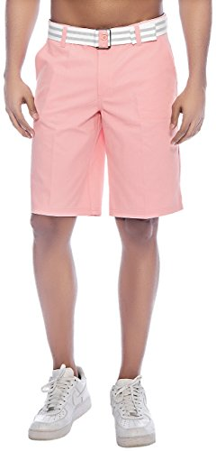 [Enimay Men's Solid Colored Plain Summer Flat Front Cotton Shorts /w Free Belt Rose 32] (Misses Flat Front Shorts)