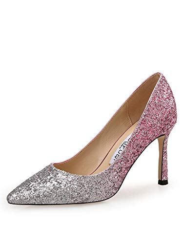 Yukun zapatos de tacón alto Zapatos De Tacón Alto, Zapatos De Boda, Lentejuelas De Las Mujeres, Stilettos, Zapatos De Novia, Dama De Honor, Puntiagudos, Gradiente, Club Nocturno, Zapatos Individuales Rose Red Silver