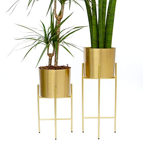 Orchid Sideboard - Set 2 Modern Mid Century Brass Gold Planters with Stand | 7 Inch Large Planter Pots with Metal Stands | Flower Pot Living Room Decor | for Orchid, Aloe, Large Cactus Plants | 16 & 20 Inch Tall