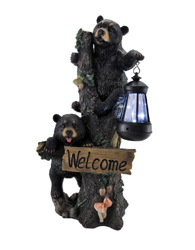 Things2Die4 Little Rascals Climbing Bear Cubs Solar Light Welcome Statue (Statue Bear Welcome)
